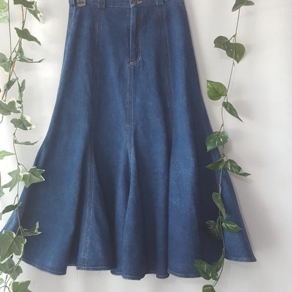 Liz Claiborne Dresses & Skirts - Vintage Liz Claiborne denim maxi trumpet skirt